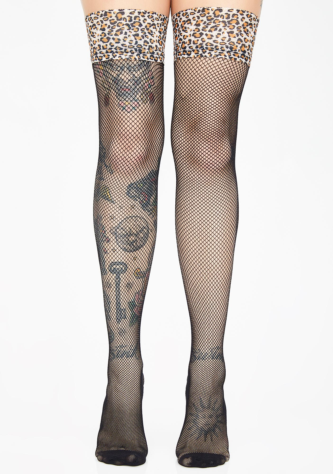578ec0a5b2f03 Leopard Fishnet Thigh High Stockings | Dolls Kill