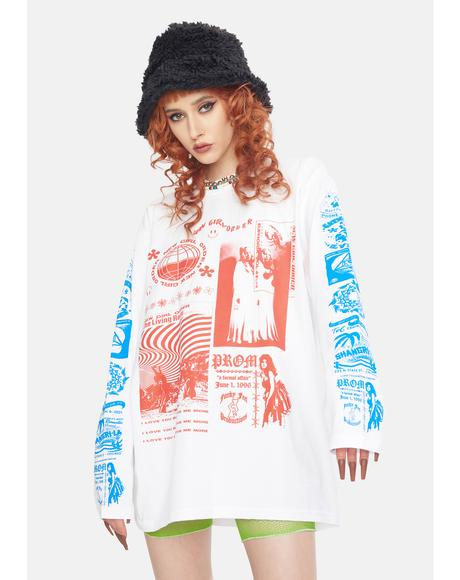 Rave Flyer Long Sleeve Graphic Tee
