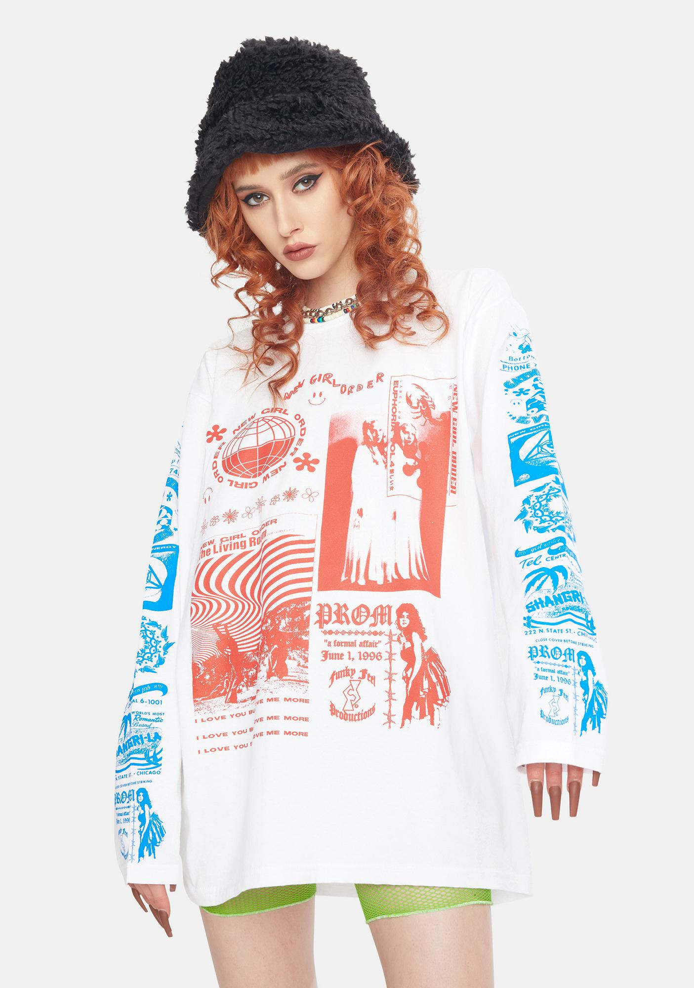 NEW GIRL ORDER Rave Flyer Long Sleeve Graphic Tee