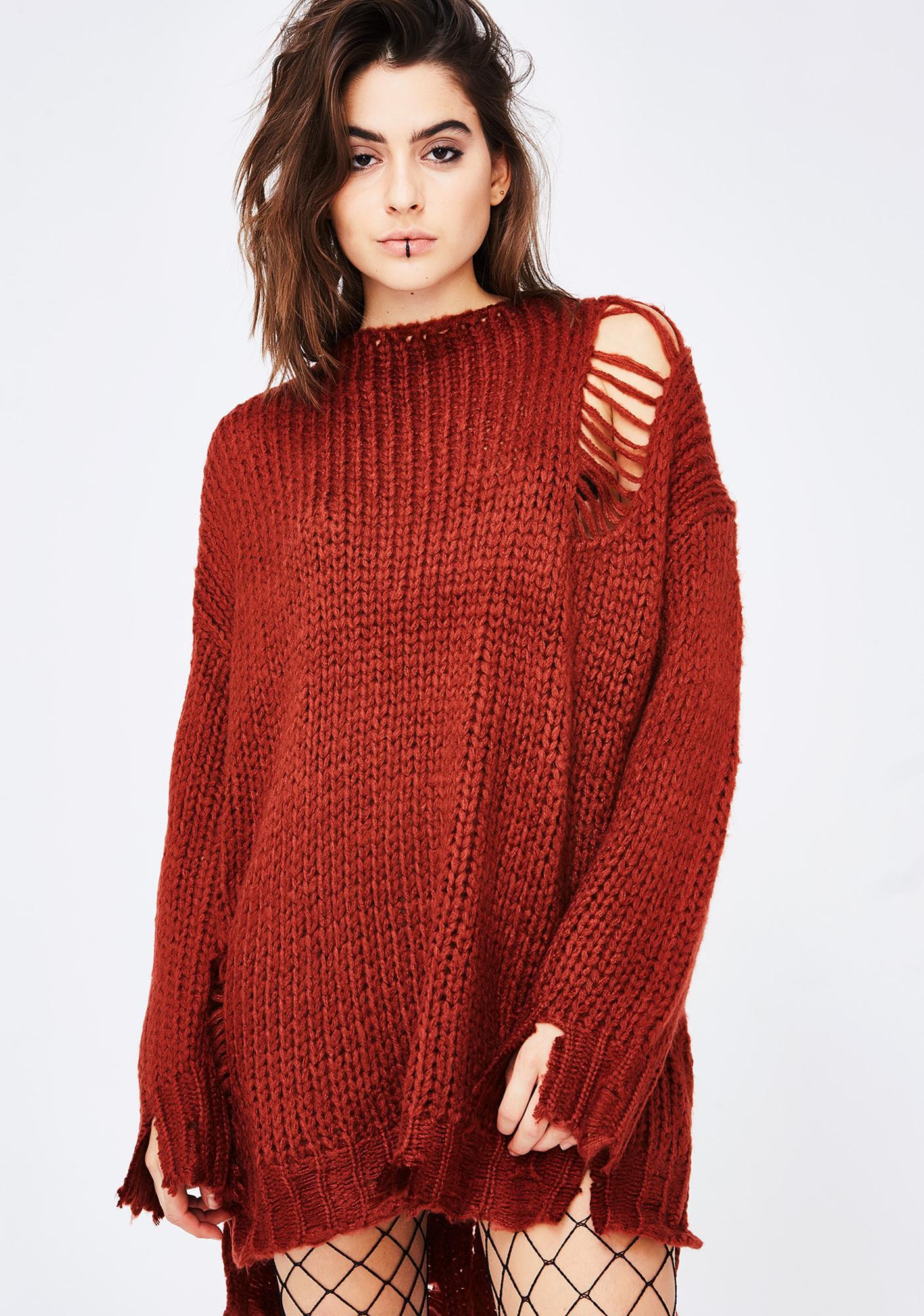 Distressed Lace Up Sweater Dress | Dolls Kill