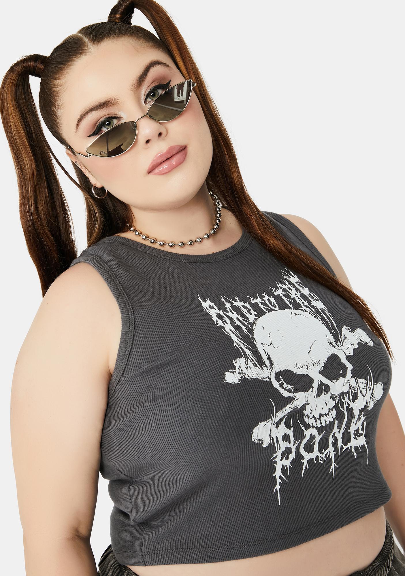 NEW GIRL ORDER Curve Skull Sports Tank Top
