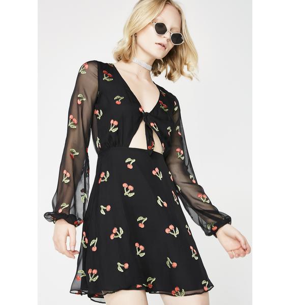 For Love & Lemons Cherry Twist Mini Dress
