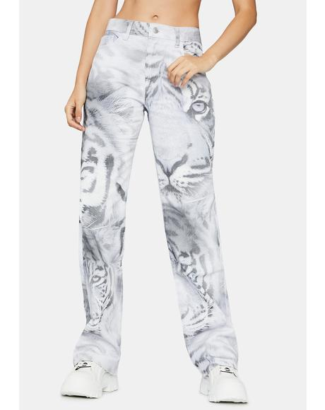 Tiger Fade Print Slouchy Fit Jeans