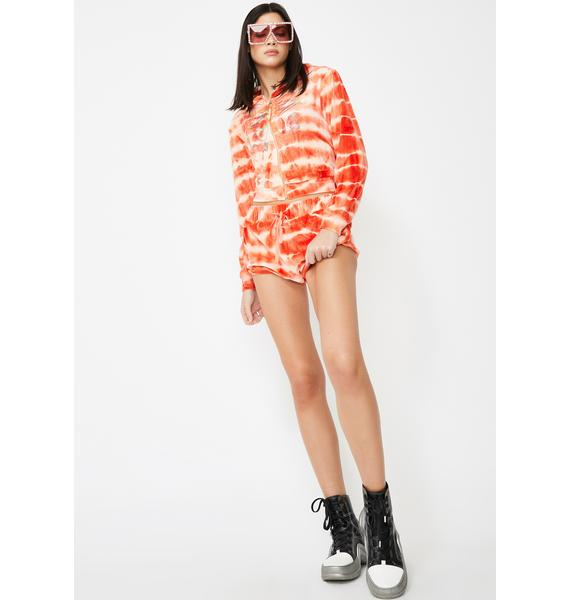 Jaded London Orange Tie Dye Velour Hoodie With Rainbow Rhinestones
