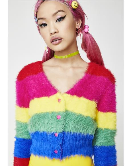 Fluffy Rainbow Cardigan