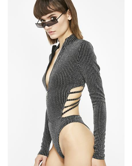 Chrome Eat Sleep Rave Metallic Bodysuit