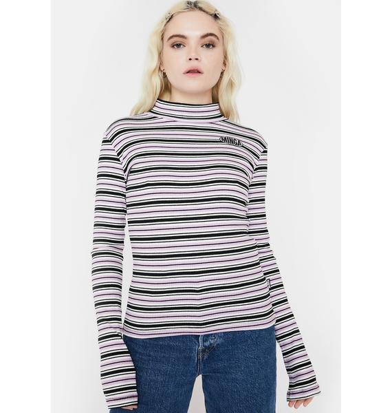 Minga Blush Crush Striped Ribbed Top
