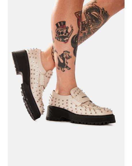 Bone Malvern Studded Loafers