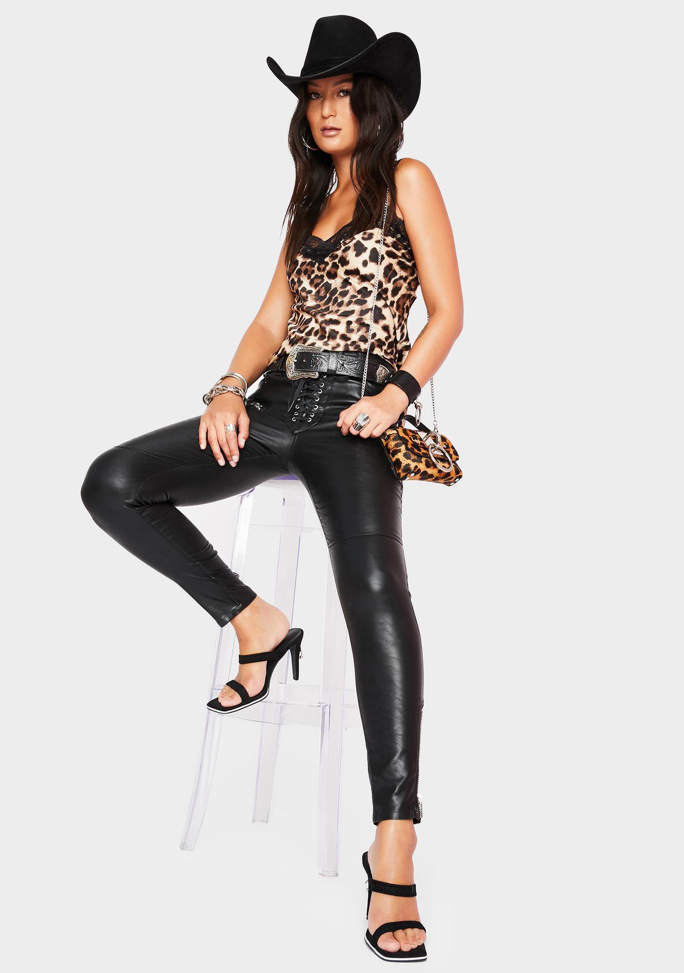 SWNY Cheetah 90s Lace Slip Top