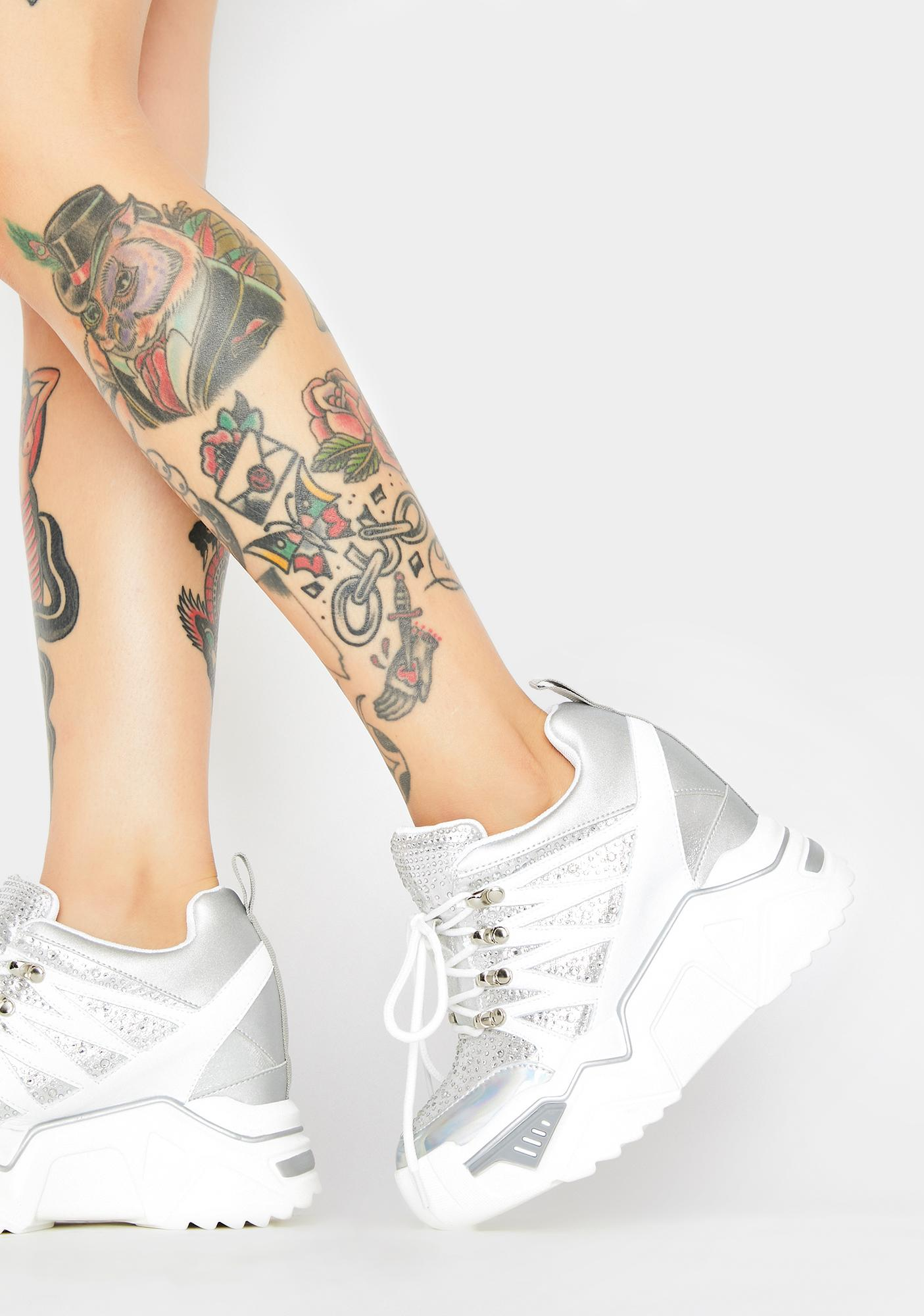 Anthony Wang Chrome Stop Look N' Glisten Platform Sneakers