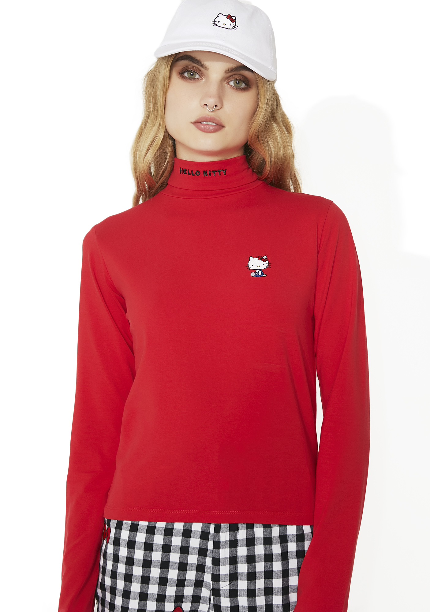 Lazy Oaf Hello Kitty Polo Neck Top