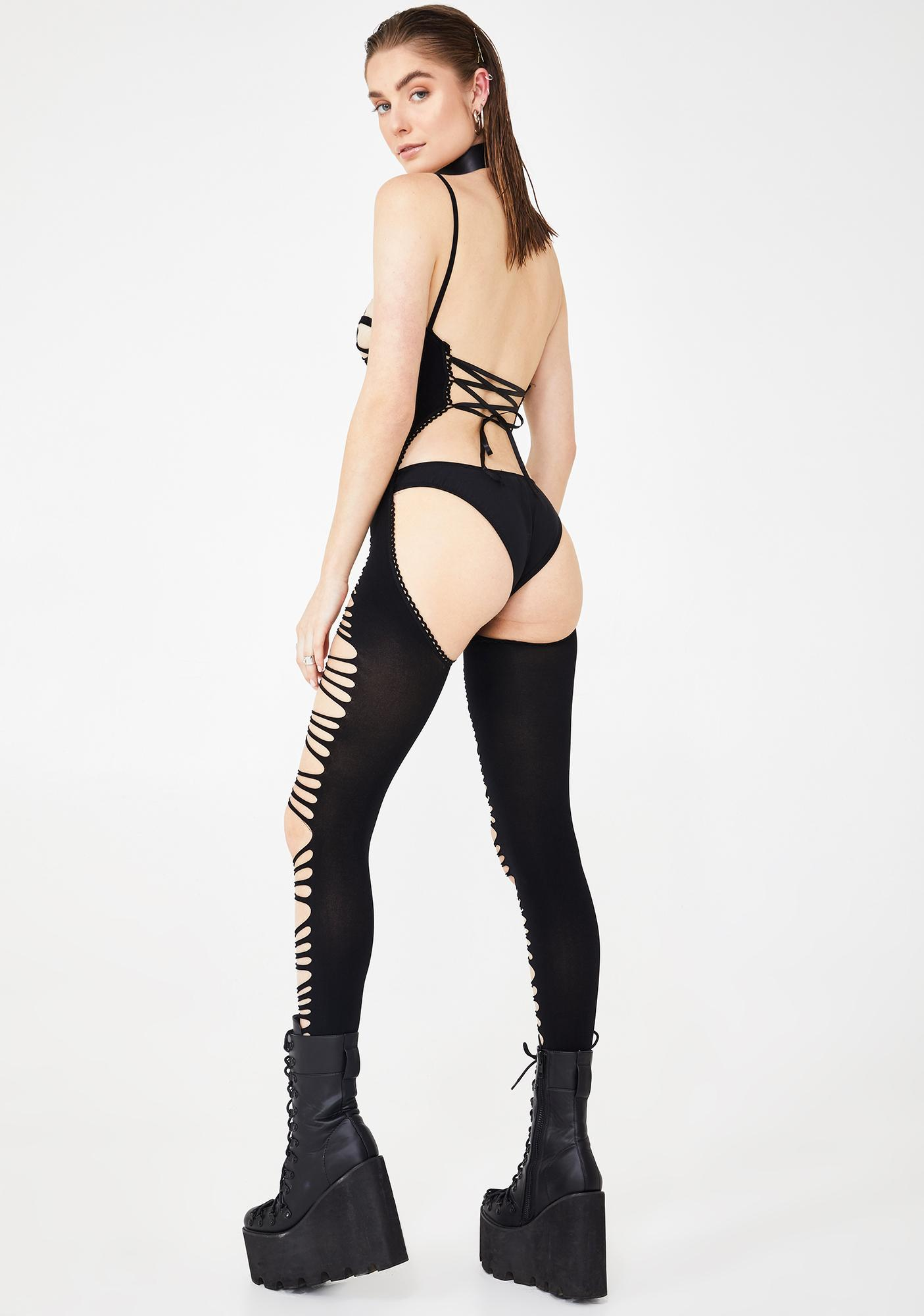 Follow My Command Cut-Out Bodystocking