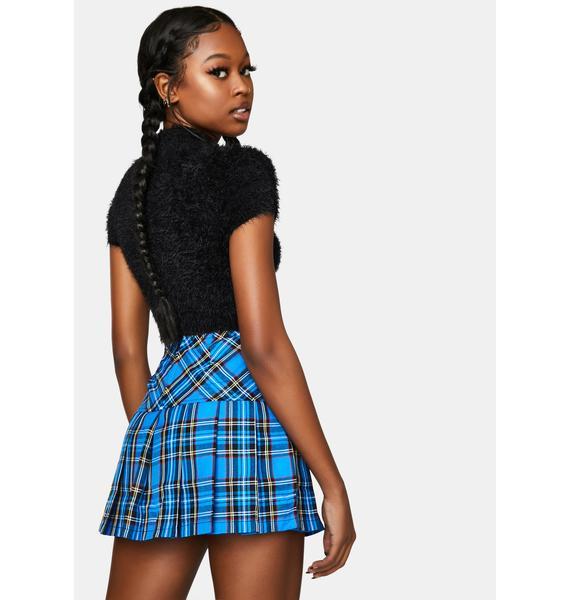 Tripp NYC Woven Blue Plaid Pleated Mini Skirt