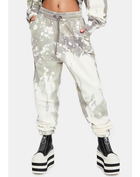 Bleach Wash Relaxed Fit Joggers