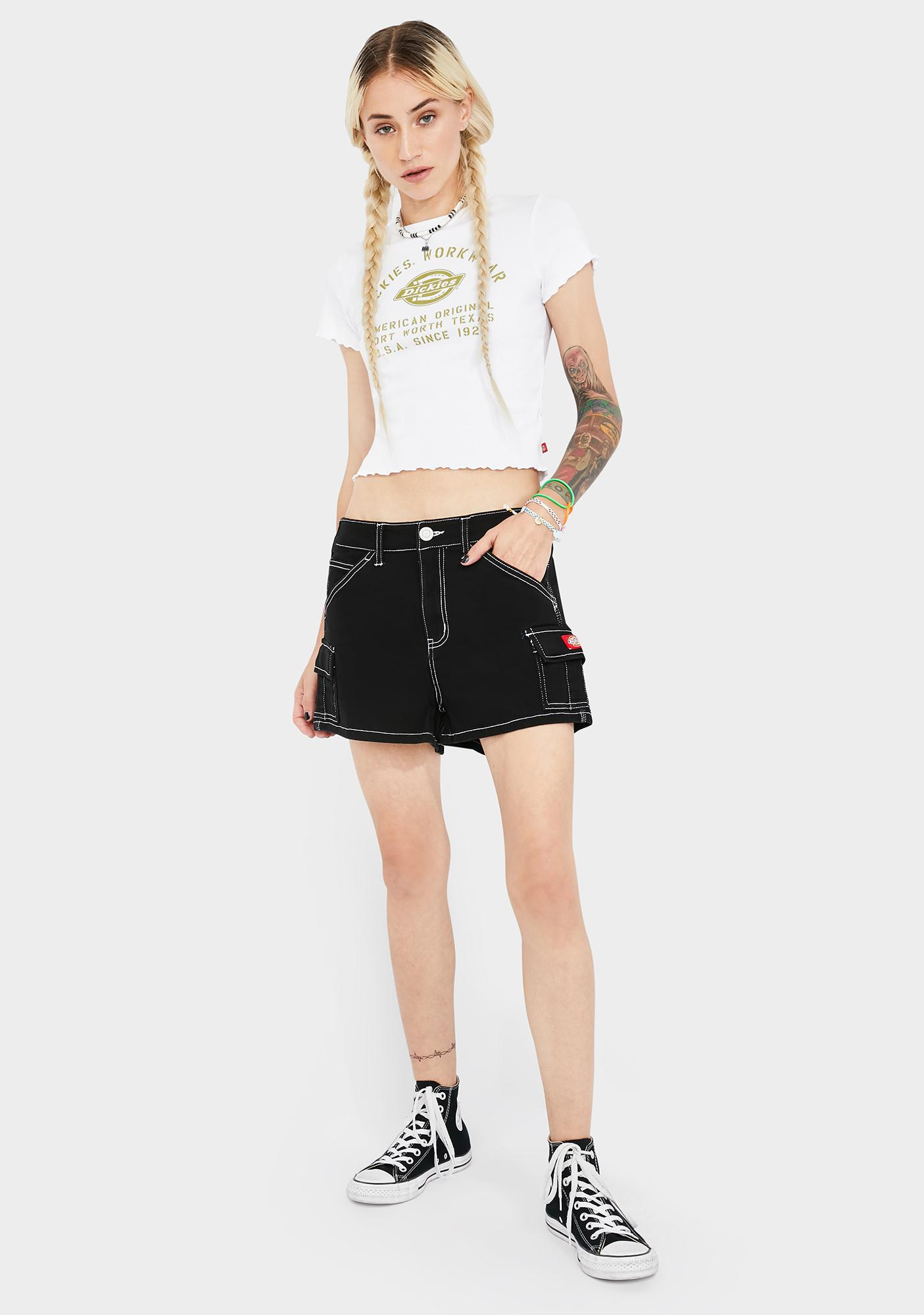 Dickies Girl Black High Rise Cargo Shorts