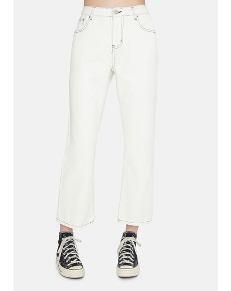 White Denim Straight Leg Jeans