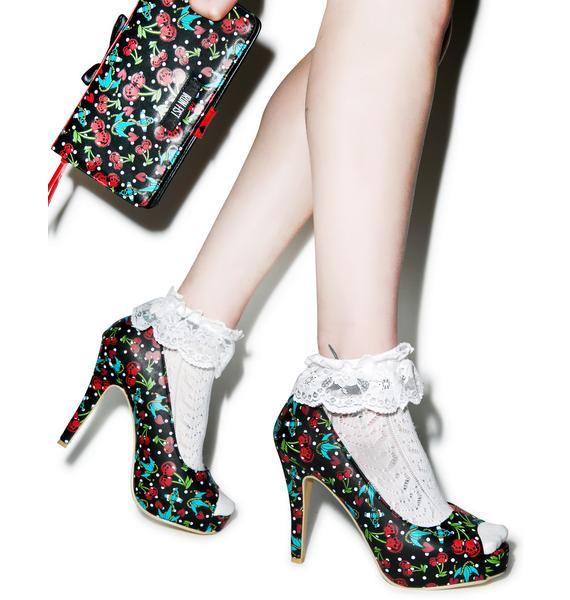 Iron Fist Cherry Glazer Peep Toe Platform Heels