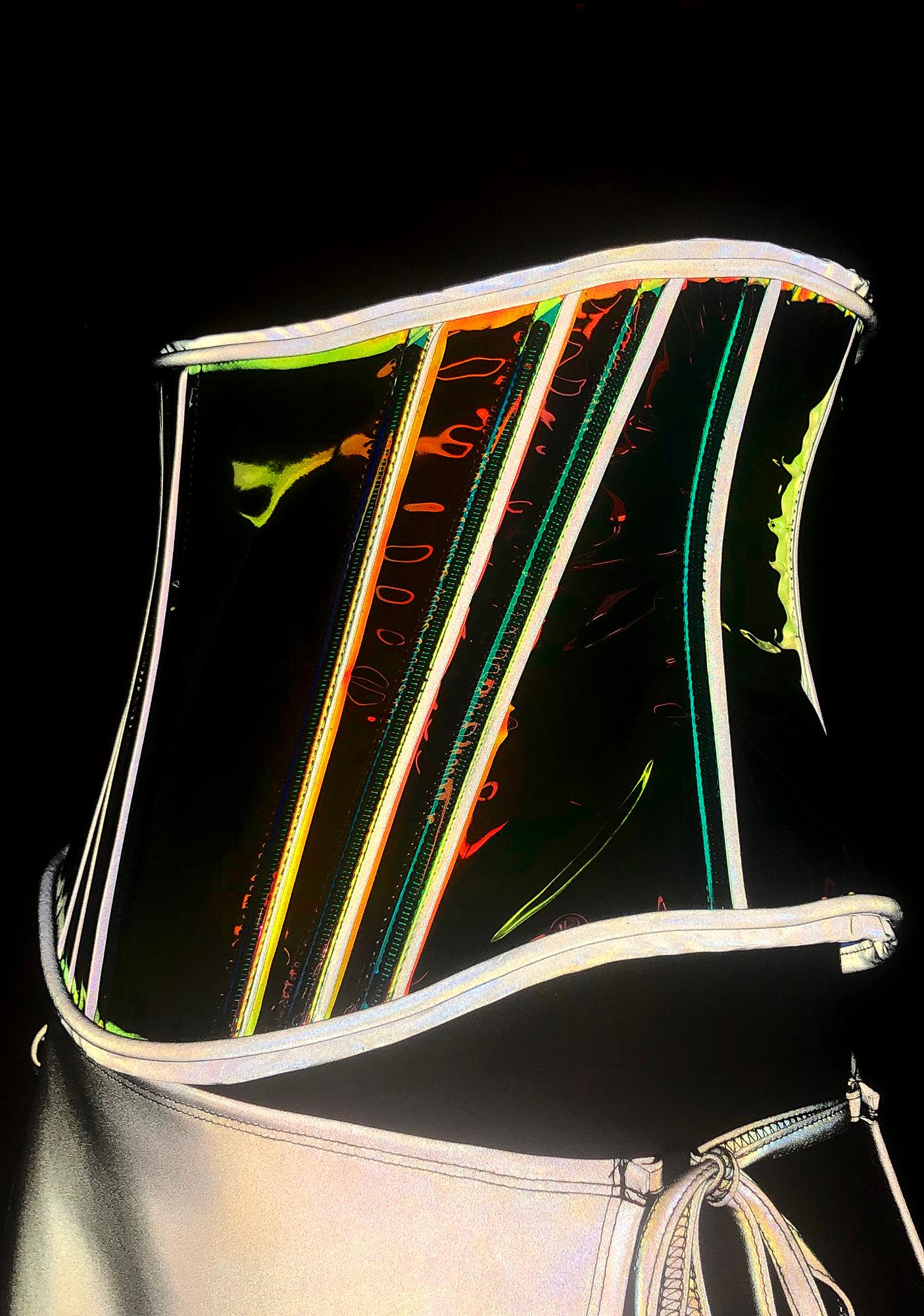 Club Exx Burnerette Reflective Glow Corset