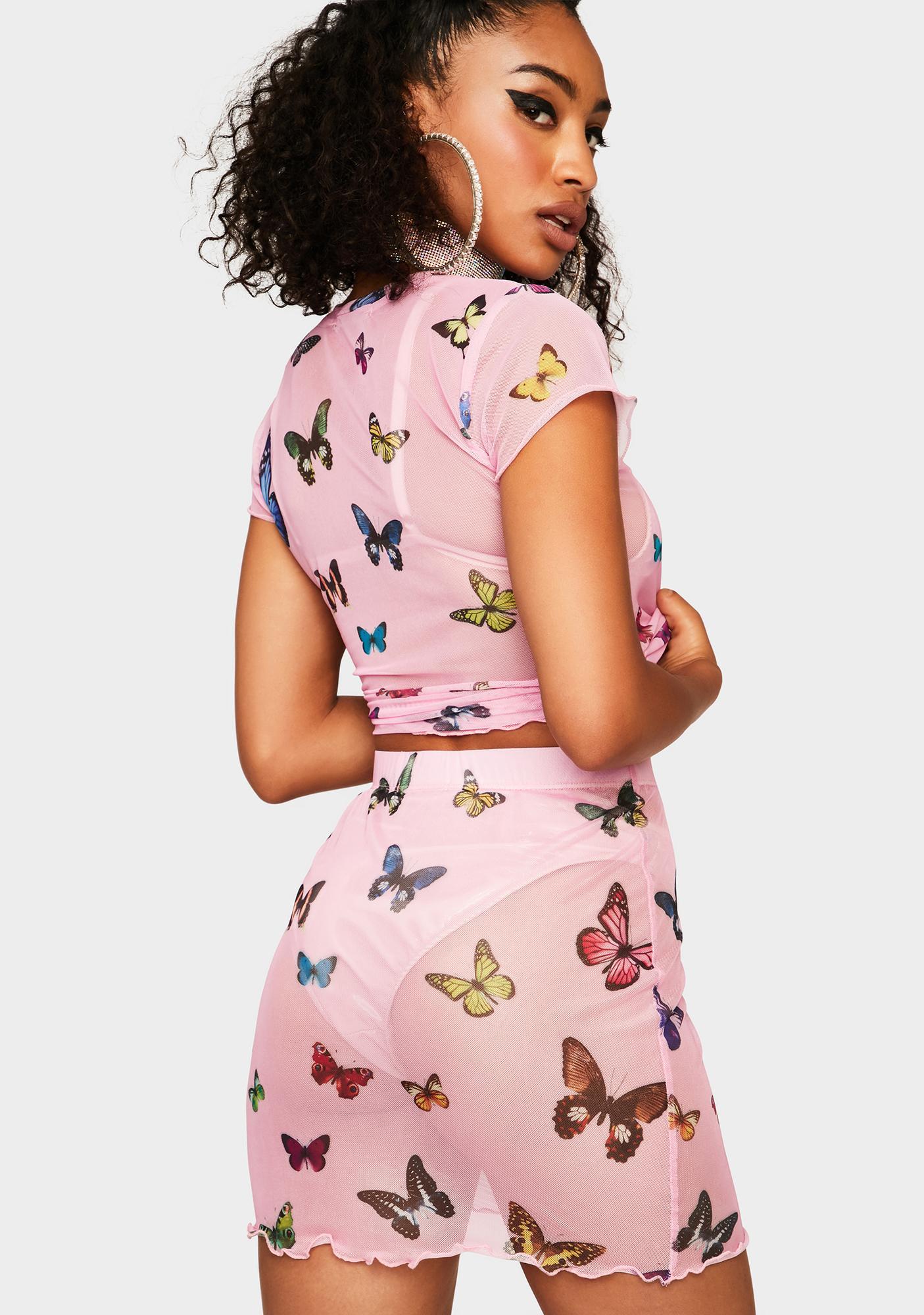 Butterfly Fly Away Mesh Skirt