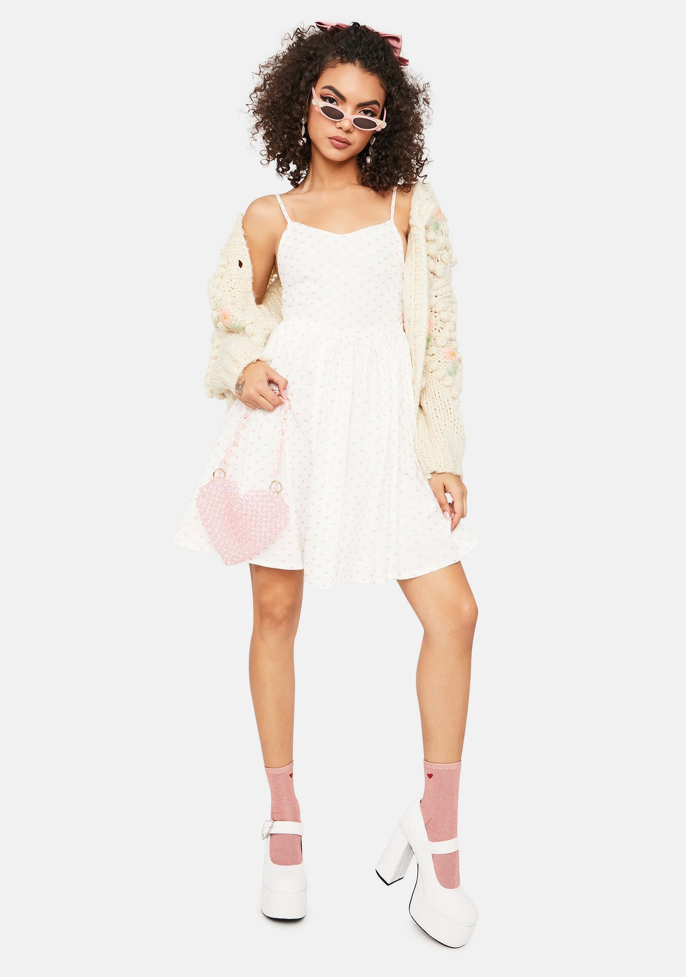 Daisy Street Pink Heart Printed Cami Dress