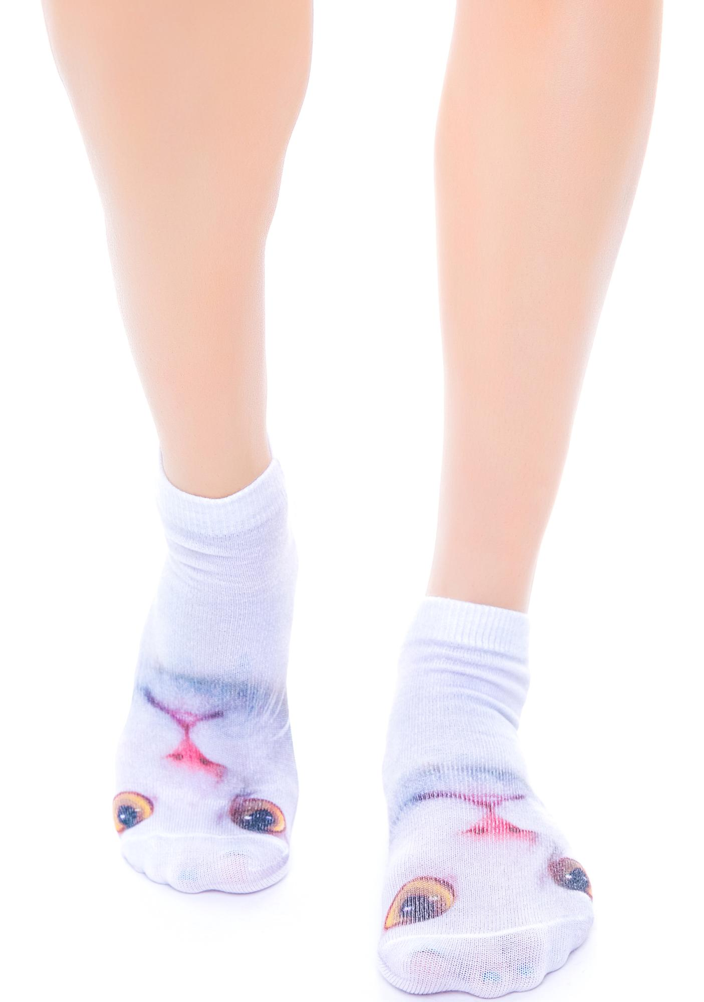 White Cat Below Ankle Socks