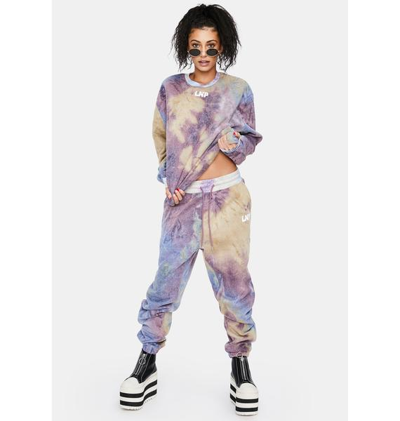 Liquor N Poker Lilac Tie Dye Relaxed Fit Crewneck