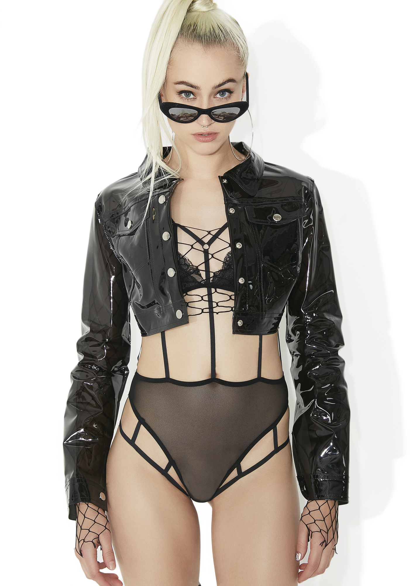 Black Clear Plastic Cropped Jacket
