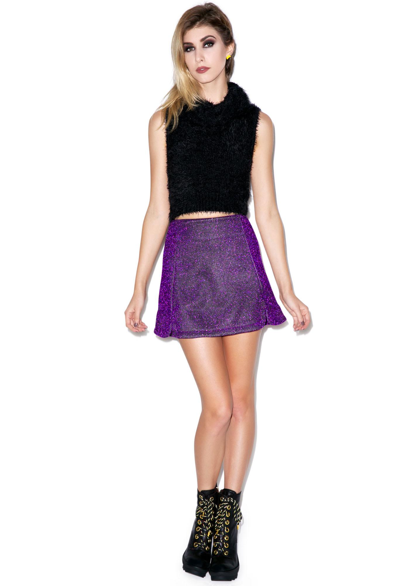 Motel Paige Glitter Mini Skirt