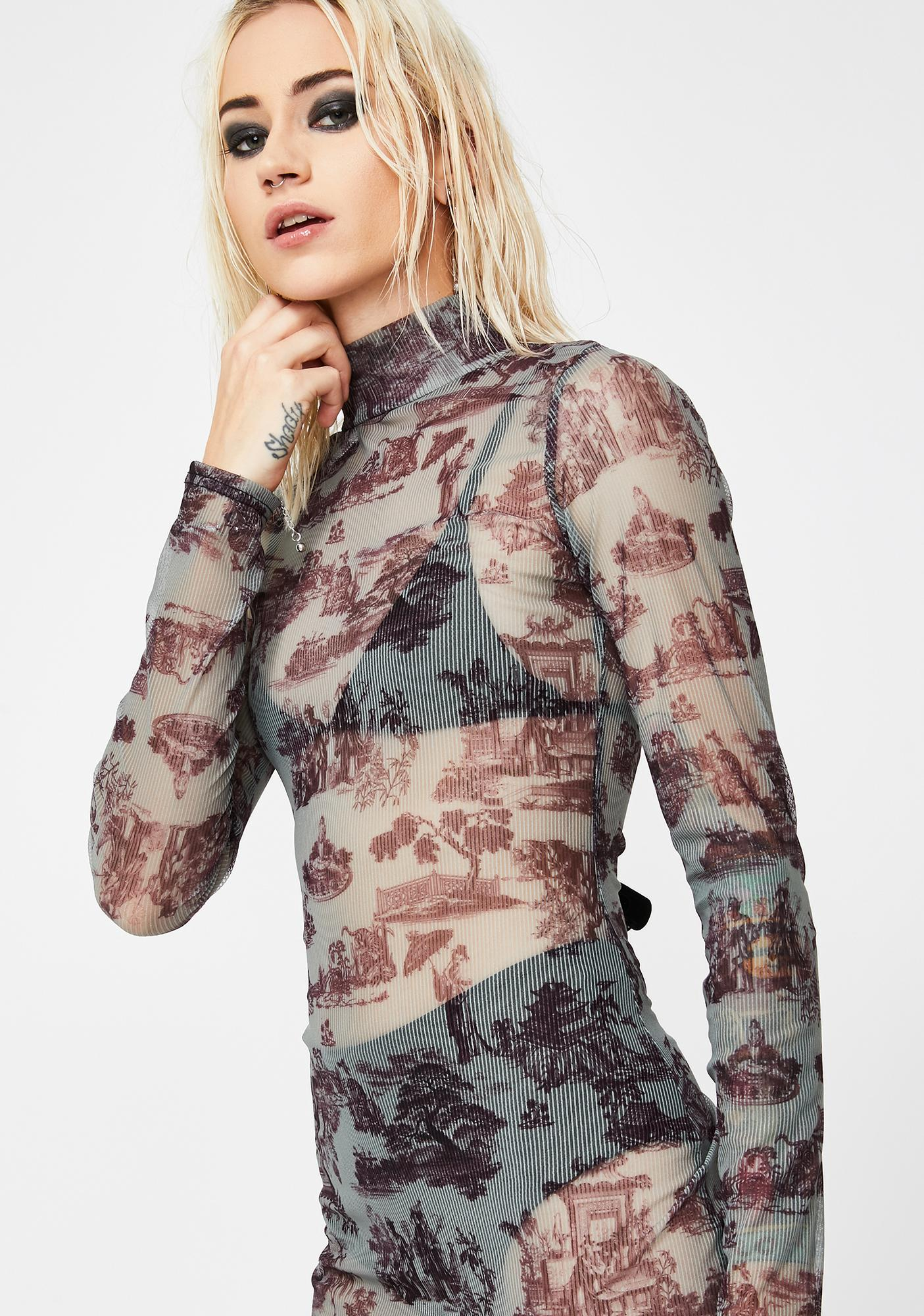 NEW GIRL ORDER Mock Neck Print Slit Maxi Dress