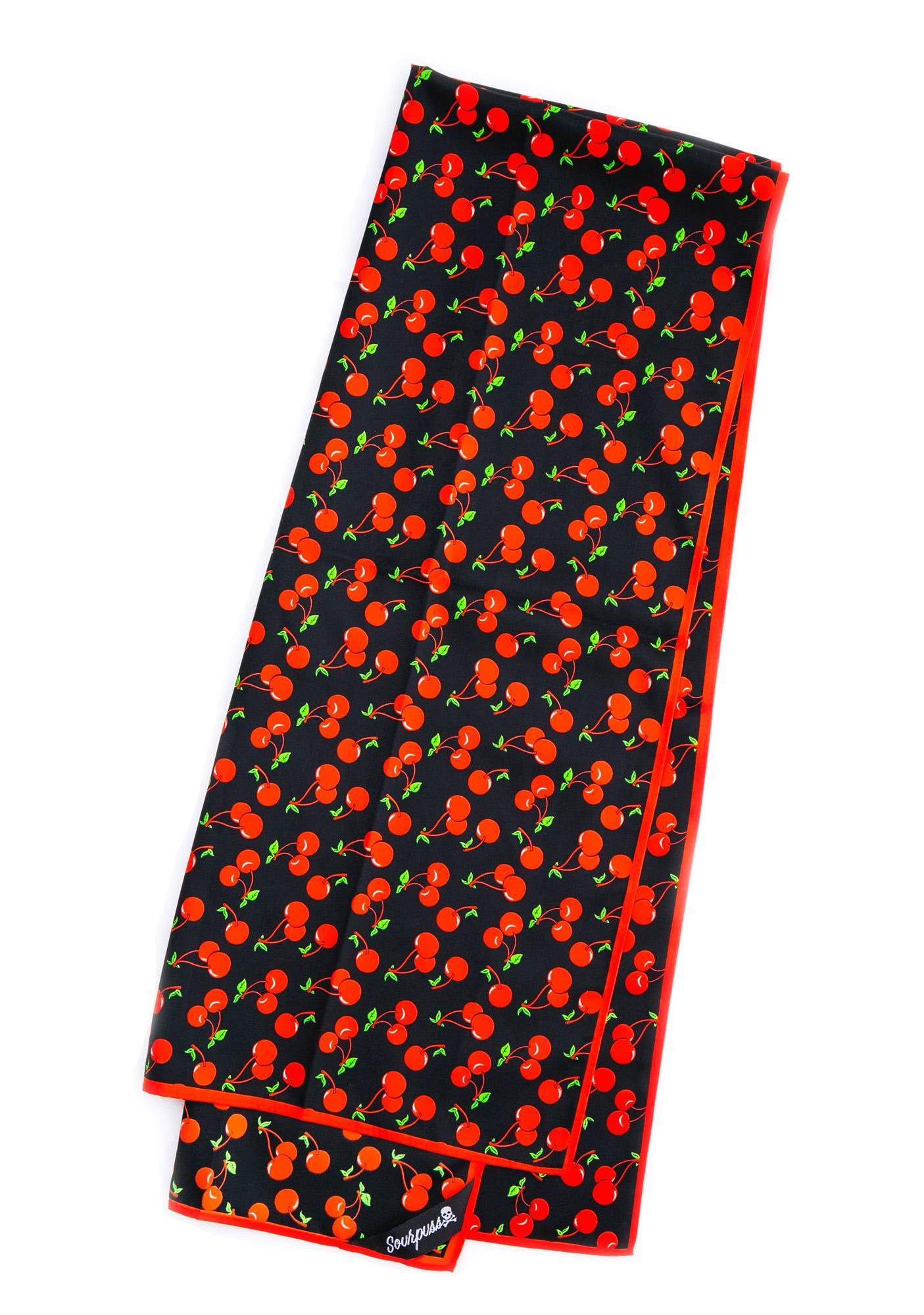 Sourpuss Clothing Bad Girl Scarf Cherries
