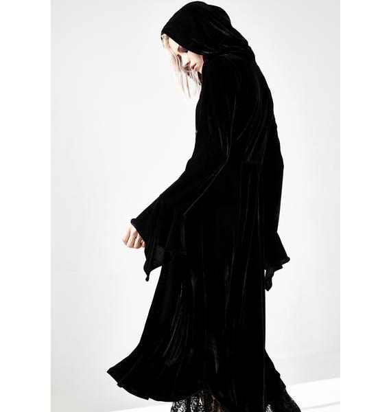 Dark In Love Gothic Lace Up Hooded Velvet Cloak