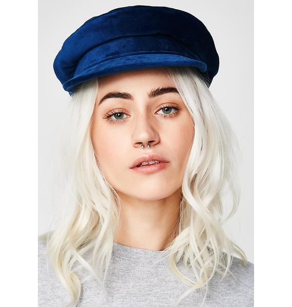 Indigo Lone Wolf Velvet Biker Hat