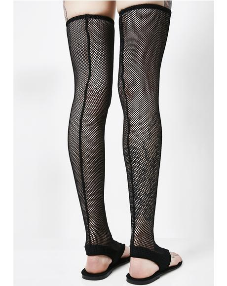 Dark Rush Thigh High Fishnet Sandals