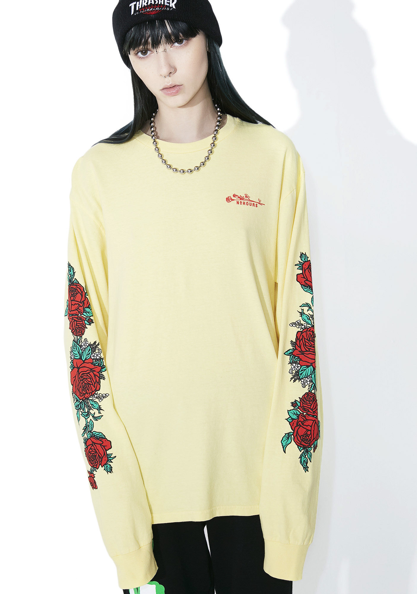 No Hours Rose Patterns Long Sleeve Tee