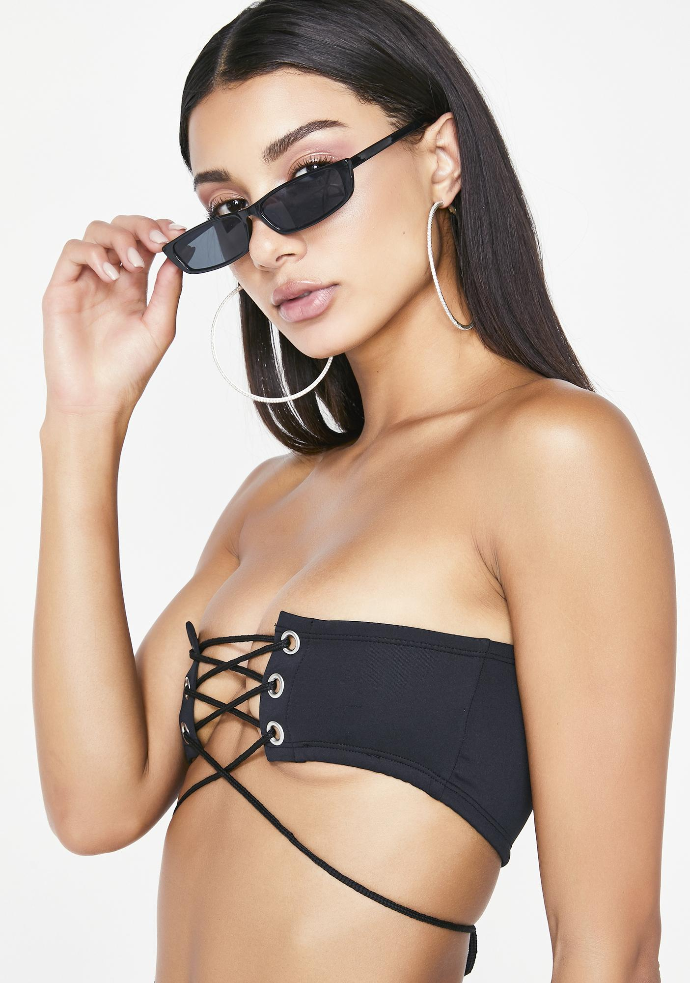 Wicked Ish Talker Lace Up Bandeau by Poster Grl