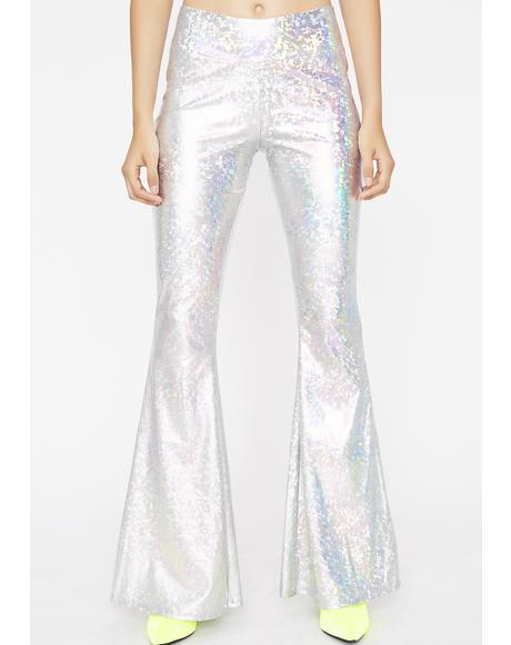 Chrome Disco Fever Shimmer Bell Bottoms