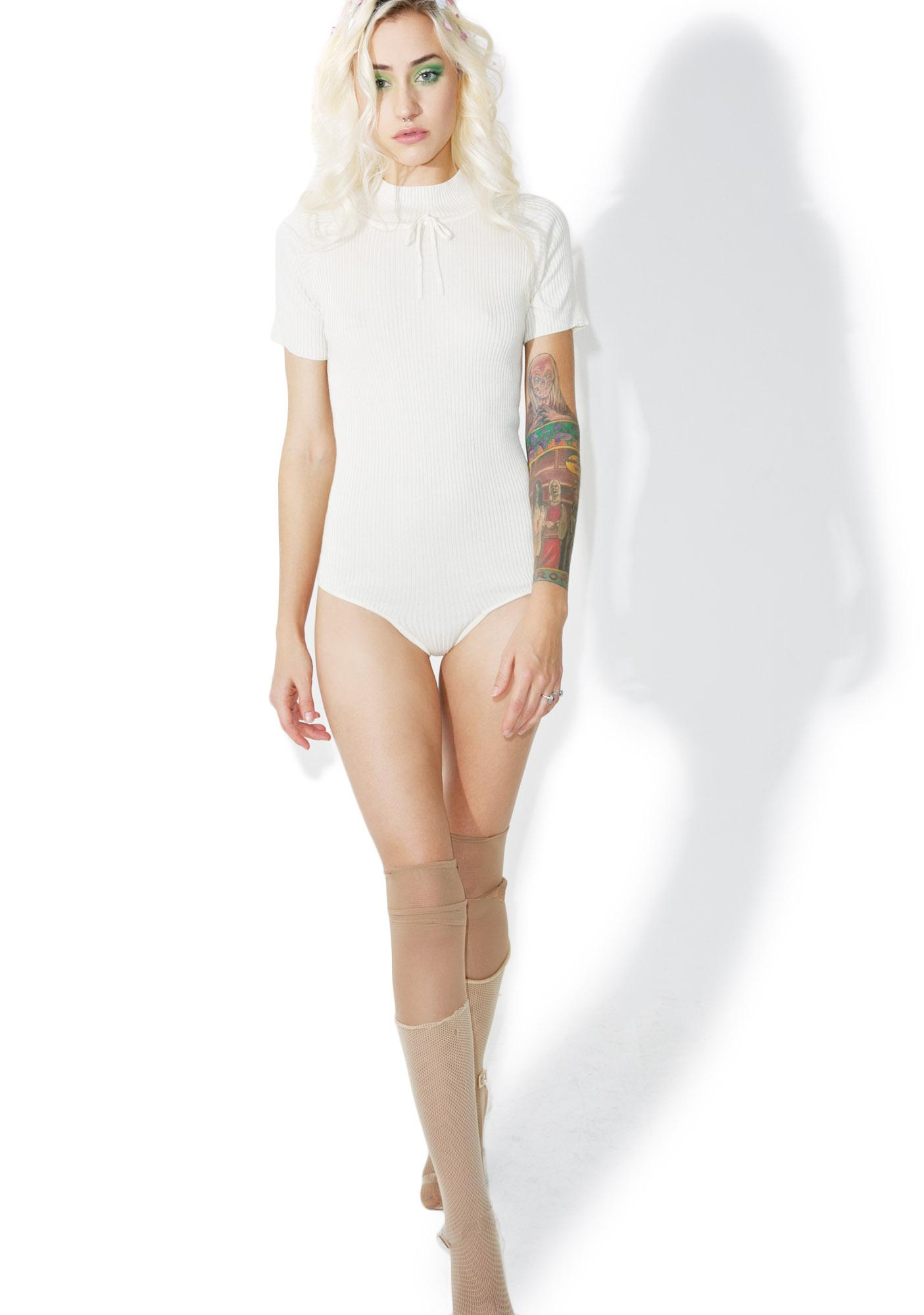 For Love & Lemons Creme Delancey Bodysuit