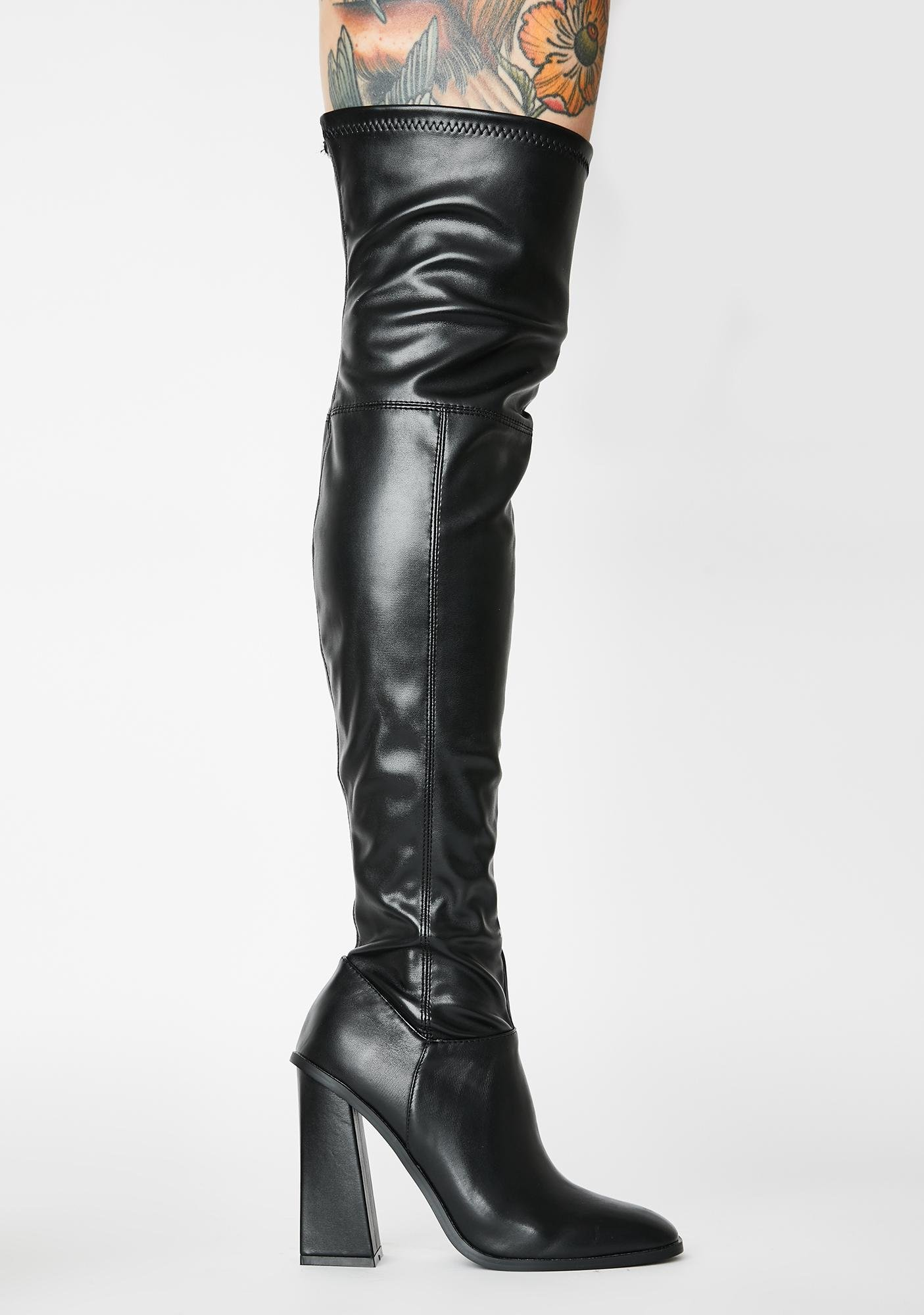 Public Desire Black Ryleigh Over The Knee Boots