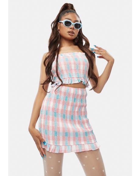 Do I Know U Plaid Ruffle Skirt