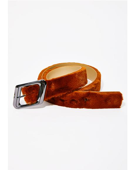 Cognac Embrace This Fuzz Belt