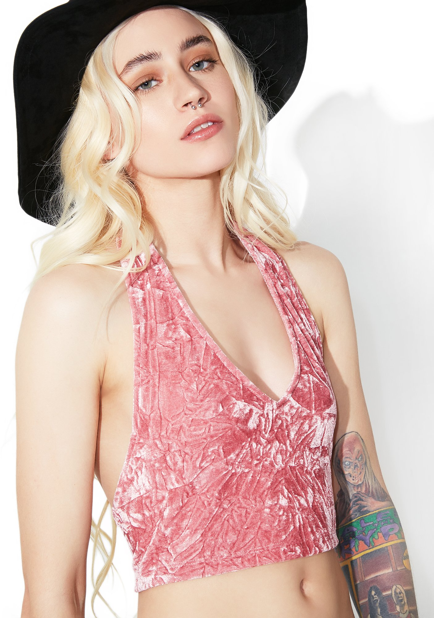 Motel Crushed Dream Velvet Halter Top