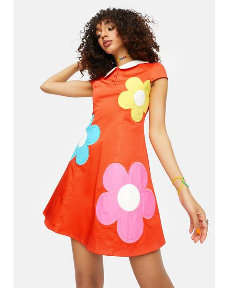 Diggin' Ur Stems Flower Applique Mini Dress