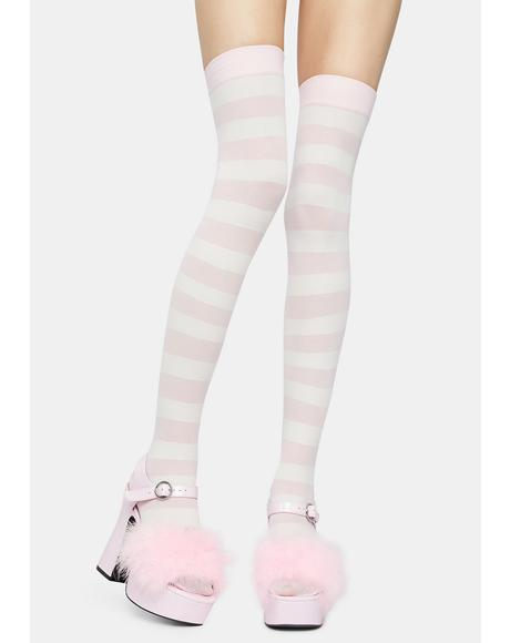 Sugar Make U Pay Striped Thigh Highs