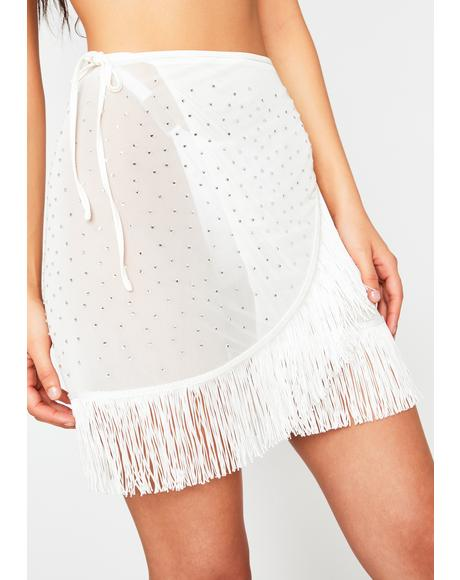 Ivory Here All Night Fringe Skirt