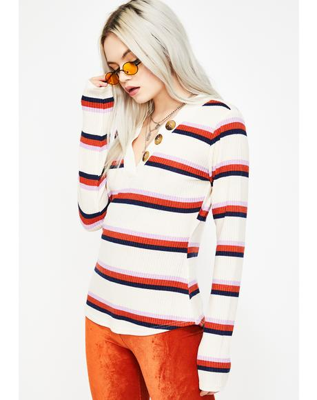 Natural Dusk To Dawn Stripe Top