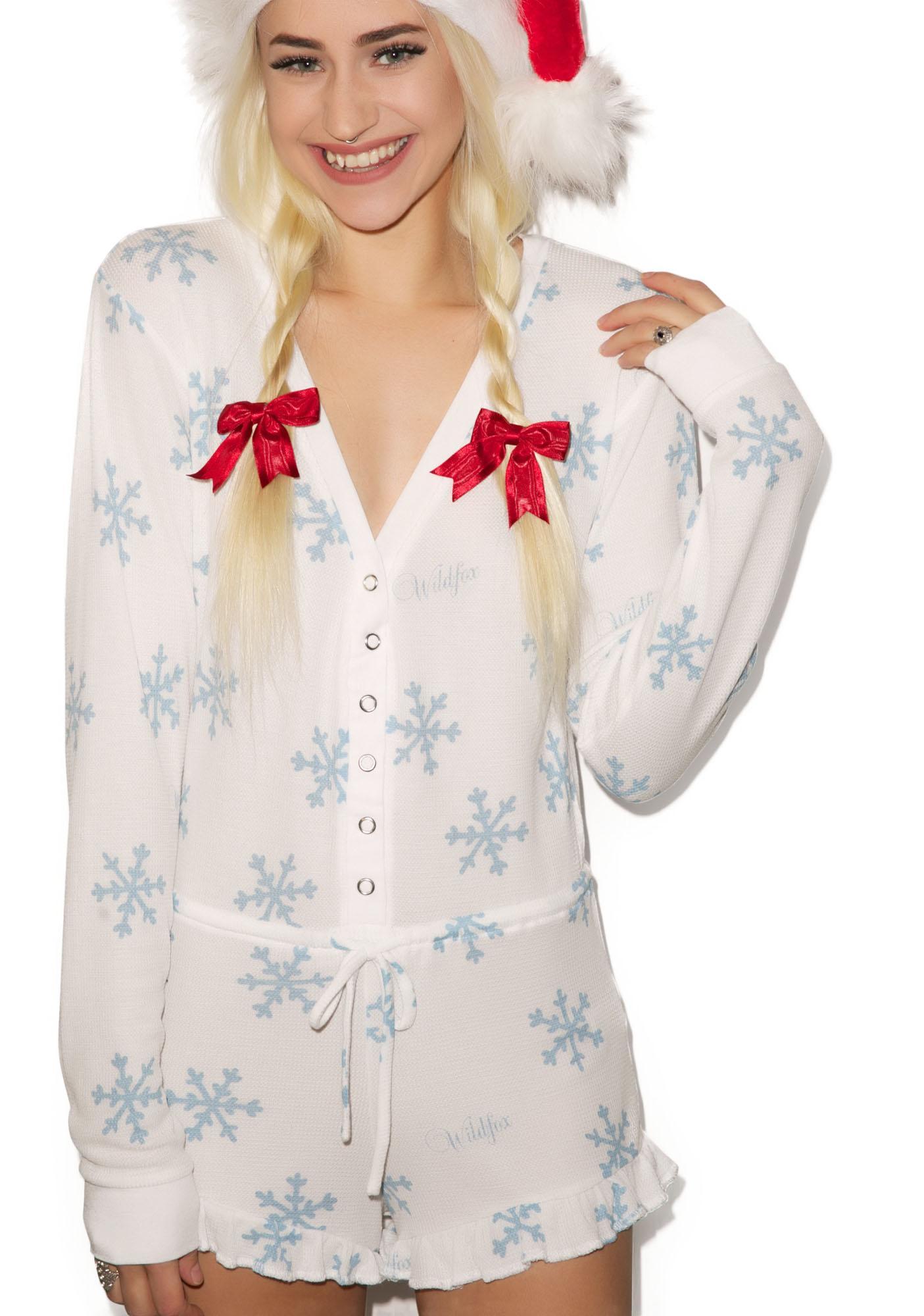 Wildfox Couture Snowflake Ye Rustic Pajama Romper