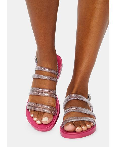 Pink Del Rio Glitter Jelly Sandals