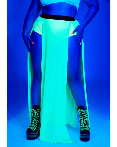 Bright Glowing Beatz Sheer Maxi Skirt