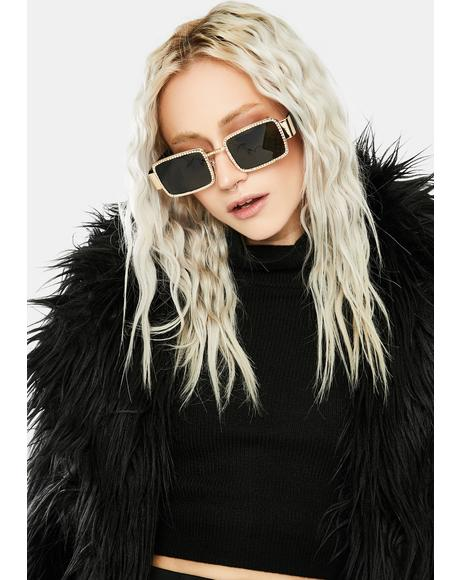 Golden Kind Of Wonderful Rhinestone Sunglasses
