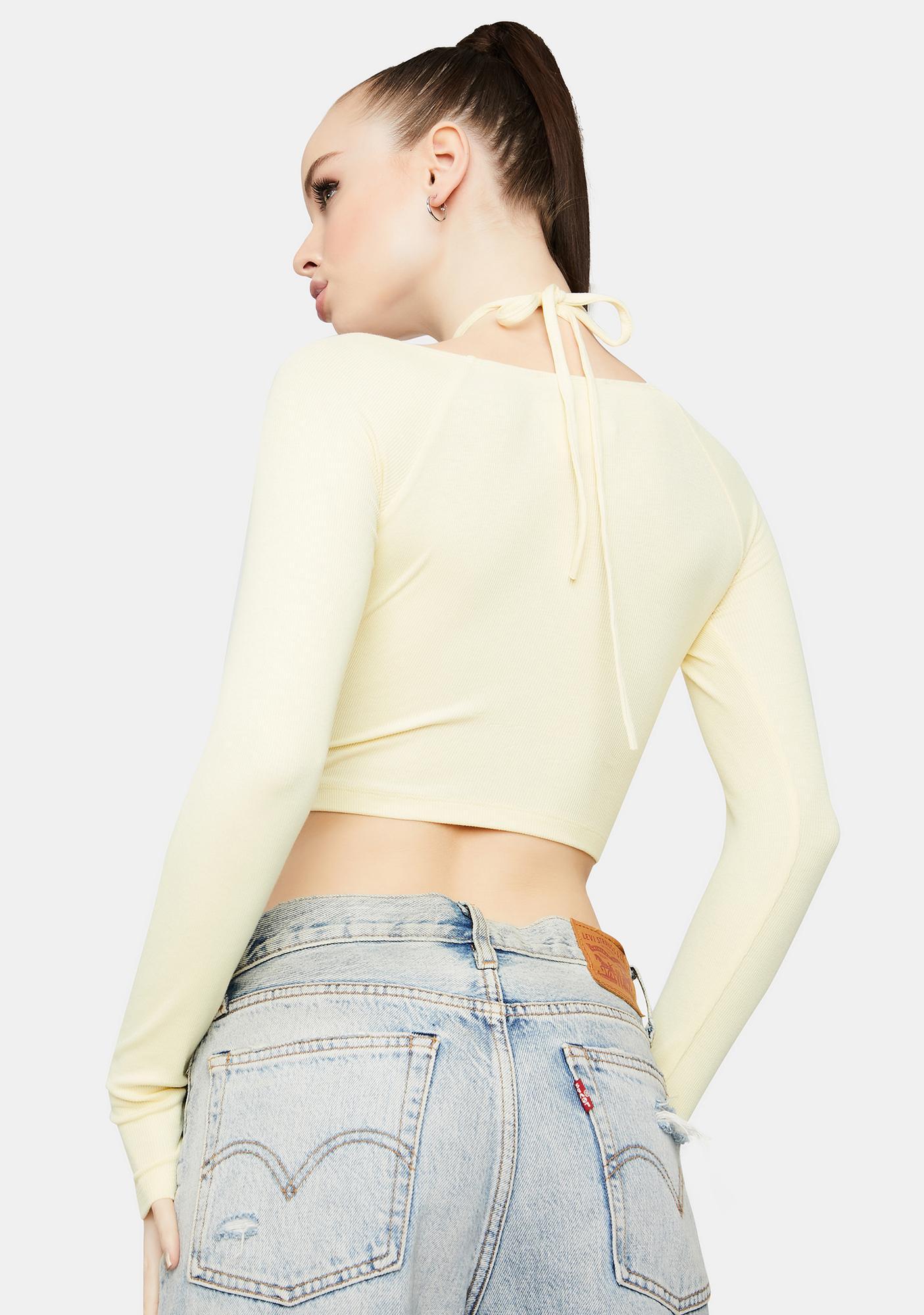 Lemon Hit My Stride Halter Sweater